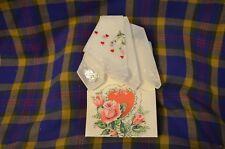 Vtg Desco All Cotton Valentine Hankie w/Vintage Card Holder-Switzerland