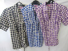 Hip Length Cotton V Neck Checked Tops & Shirts for Women