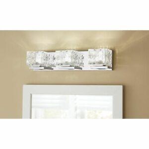 Home Decorators Tulianne Wall LED 3 Light Cube Glass Chrome Vanity Lighting