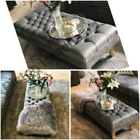 Chesterfield Footstool/coffee Table In Plush Velvet 2019 Fabric NEW