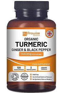 Organic Turmeric Curcumin 1440mg with Organic Black Pepper & Ginger - Prowise