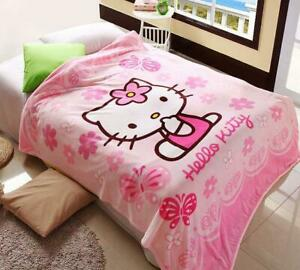 """New Design Cute Hello Kitty Supersoft Plush Bedroom Blanket Throw Cover 59""""x78"""""""