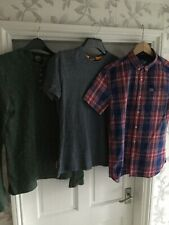 Super Dry 3 Mens Tops Checked Shirt Blue T-shirt & Green Long Sleeve Size M