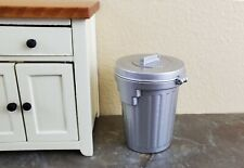 Dollhouse Miniature Garbage Can Waste Paper Baskets Metal Opening Lid 1:12 Scale