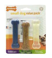 Nylabone Small Dog Value Pack 1ea Dental Chew/Edible Bacon/Flexi Original