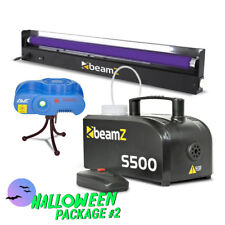 Halloween Light Pack with Smoke Machine, Laser, Strobe and 60cm UV Black Light