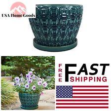 Seafoam Ceramic Pot 12 in. dia Outdoor Indoor Bohemian Planter Pots