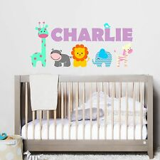 Personalized Custom Name Animals Wall Decal Vinyl Sticker Decal Baby Crib Decal