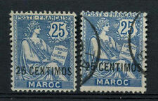 French Post Offices Morocco 1902-10 SG#21, 25c On 25c Blue MH + Used #A64434