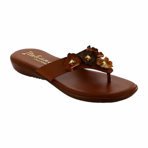 New Italiana By Italian Shoemakers Tan Marree Flat Sandals Slides Shoes Size 8