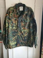 "Vintage German Army Jacket Flecktarn Camo Green Chest 44"" Cotton Blend"