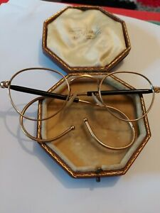 Vintage Algha 20 Gold Frame Glasses Coil Arms Round