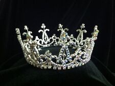 Mini Bun Pearl and Austrian Crystal Rhinestone Tiara Crown Cake Topper Prom T79