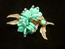 VINTAGE MIRIAM HASKELL TURQUOISE GLASS FLORAL PIN