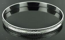 18k solid white gold  diamond cut bangle  bracelet 13.30 grams h3jewels #1423