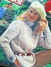 **Knitting Pattern**Ladies Jumper/Sweater**Cable & Moss Stitch**Polo Neck**