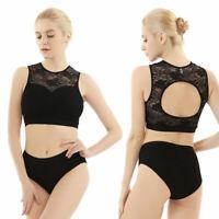Women Lace Vest Crop Top Dance Hollow Pole Active Dancewear Tank Hot Shorts 2pcs