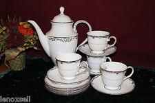 4 Lenox Coronet Platinum Tea Settings with a Coffeepot NEW USA White Platinum