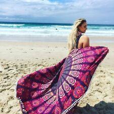 Indian mandala pompom round bohemian yoga mat cotton towel beach blanket throw