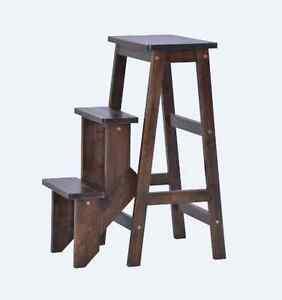 Folding Wooden Step Stool Chair/ stepladder Cappuccino