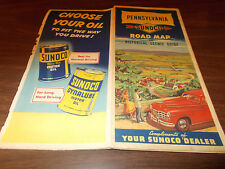 1948 Sunoco Pennsylvania Vintage Road Map / Nice Cover Art !!