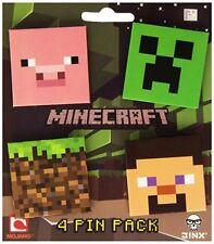 Minecraft 4 Button Pin Set (Creeper, Pig, Dirt Block, Steve)