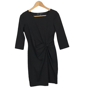 Next Size 8 Black Stretch Unlined 3/4 Sleeve Crew Neck Fitted Sheath Dress
