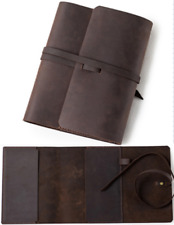 book jacket cover slipcase genuine cow leather customize handmade brown Z886