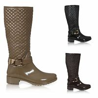 NEW WOMENS LADIES QUILTED WELLINGTON BOOTS BUCKLE ZIP UP QUILT WELLIES SIZE 3-8