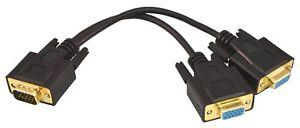 PTC Black Gold Connector VGA/SVGA Splitter Cable Adapter   1'ft