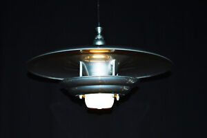 Rare mid-century modern Danish designer flying saucer three tiered light pendant