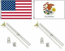 3x5 Usa American & State of Illinois Flag & 2 White Pole Kit Sets 3'x5'