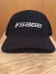 SAGE Fly Fishing Black Trucker Hat
