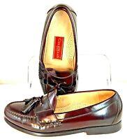 Cole Haan City Loafer Men's Sz 8 EEE Burgundy Leather Slip On Tassel Dress Shoe