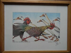 Poultry in Motion Simon Drew Signed Print. Geese + Cockerels. Listed