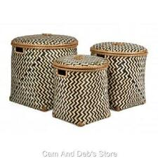Chevron Bamboo Laundry Baskets With Handles & Lids Set Of 3