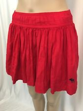 Abercrombie Fitch Mini Skirt Red Pleated Ruffled Lining Moose Logo Size XS