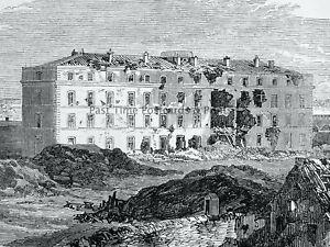 1871 Print FRANCE - BARRACKS at PORT VANVES Franco Prussian War