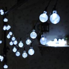 LED Solar Kugel Lichterkette Garten Außen Outdoor Beleuchtung Lampe Kaltes Weiß