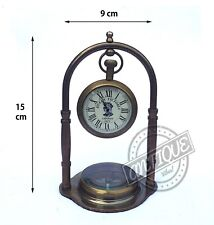 Table/Shelf Clock and Compass Brass Collectible Vintage Home or Ofice Decor Gift