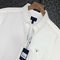 "⭐ Mens GANT Oxford regular fit white cotton twill shirt size medium 39-40 15.75"""