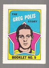 "[50083] 1971-72 TOPPS HOCKEY BOOKLET INSERT ""THE GREG POLIS STORY"" #9"
