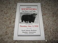 ANNUAL SHORTHORN FALL SHOW & SALE  BROCHURE (BROOKINGS, SD) NOV 3 , 1955