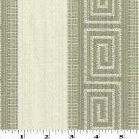 Ivory/Taupe Greek Key Stripe Jacquard Home Decorating Fabric, Fabric By The Yard