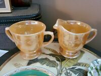 Vintage Fire King Peach Luster Laurel Leaf Sugar Bowl and Creamer