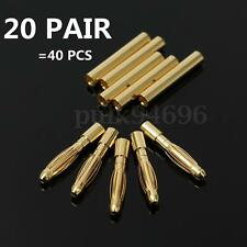 20 Pair 2mm Gold Bullet Connector Plug Male & Female For RC Battery ESC Motor US