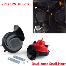 105 dB Loud Dual-tone Snail Red Universal Electric Air Horn 12V Car Truck Auto