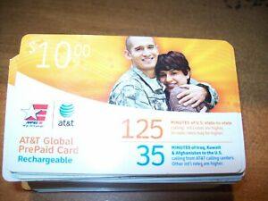 AT&T global prepaid rechargeable 125 minutes military phone card