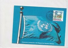 Liechtenstein 1015 MAXI CARD UNITED NATIONS 1991 FLAG BIRD DOVE CARTE KARTE