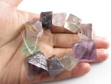 10 Octagonal Fluorite Quartz Crystal Rock Specimen Point Drill Hole Bead Healing